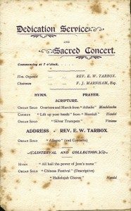 Programme for the Dedication Service, Organ Recital and Sacred Concert on the occasion of the opening of the new organ at the Baptist-Congregational Church, Addlestone, 1902