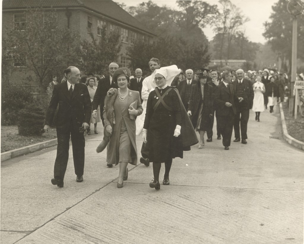 Queen Elizabeth (Queen Mother) with Miss. Cecelia Morris, Matron of Botleys Park War Emergency Hospital in 1940