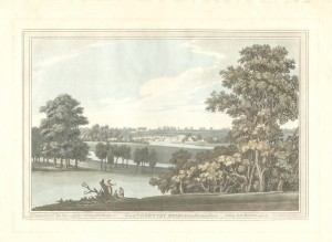 Lithograph 'View of Chertsey Bridge from Woburn Farm', 1793. Original work by Joseph Farington RA, lithograph by J.C. Stadler, and published by J & J Boydell. On loan from the Oliver Trust
