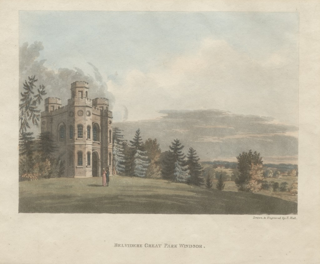 Hand-tinted engraving of Fort Belvedere, Shrubbs Hill, Windsor Great Park, drawn and engraved by T.Hall, published 24 May 1804 by T.Hall