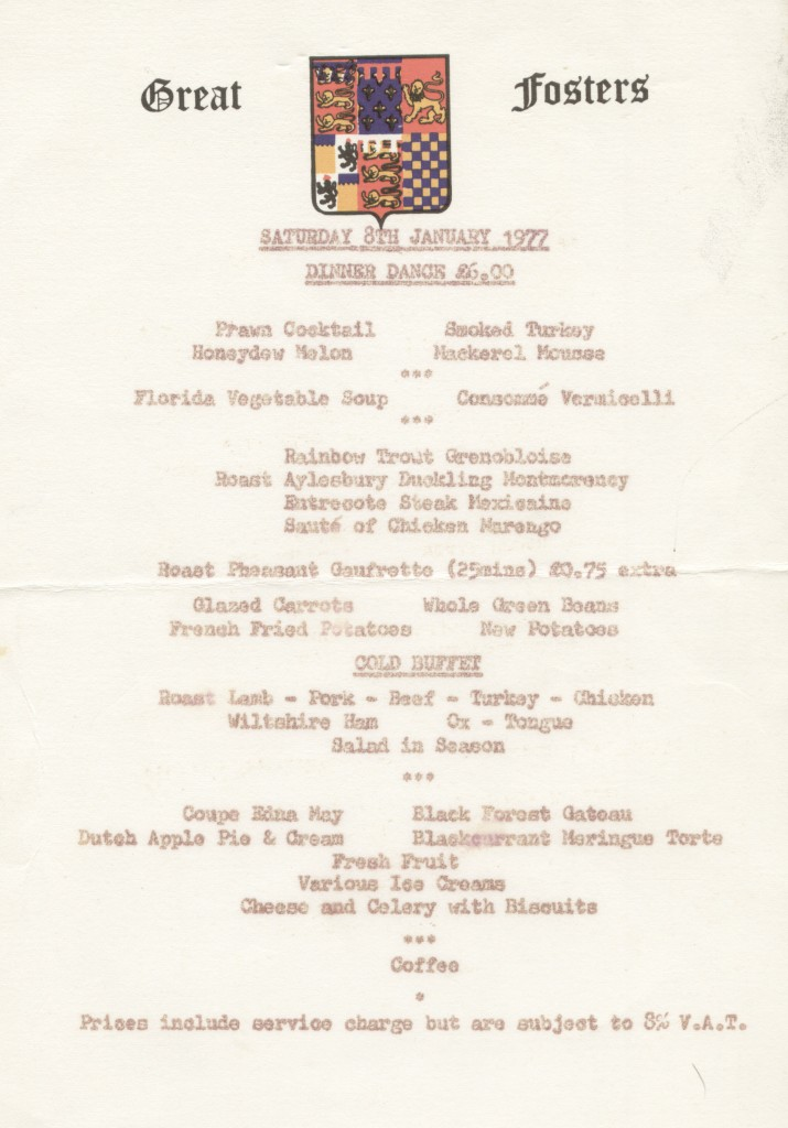 Menu card from Great Fosters Hotel, 1977
