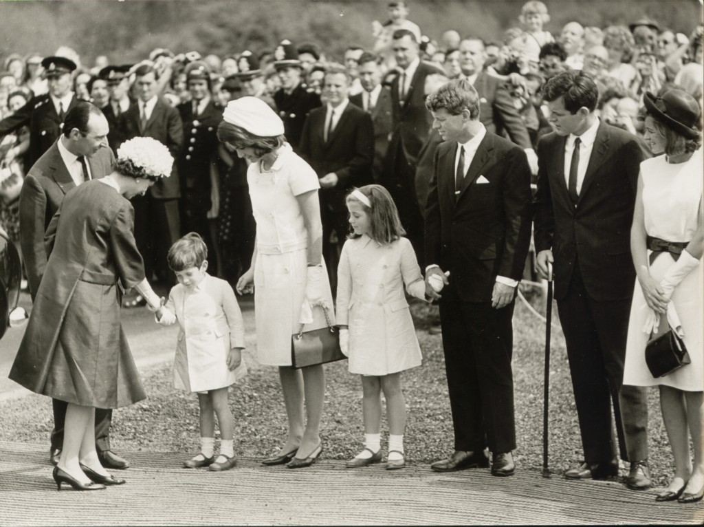 The unveiling of the Kennedy Memorial, Runnymede, featuring from left to right: HRH Queen Elizabeth II, John Kennedy Junior, Mrs Jacqueline Kennedy, Caroline Kennedy, Bobby Kennedy and Ted Kennedy. 14th May 1965