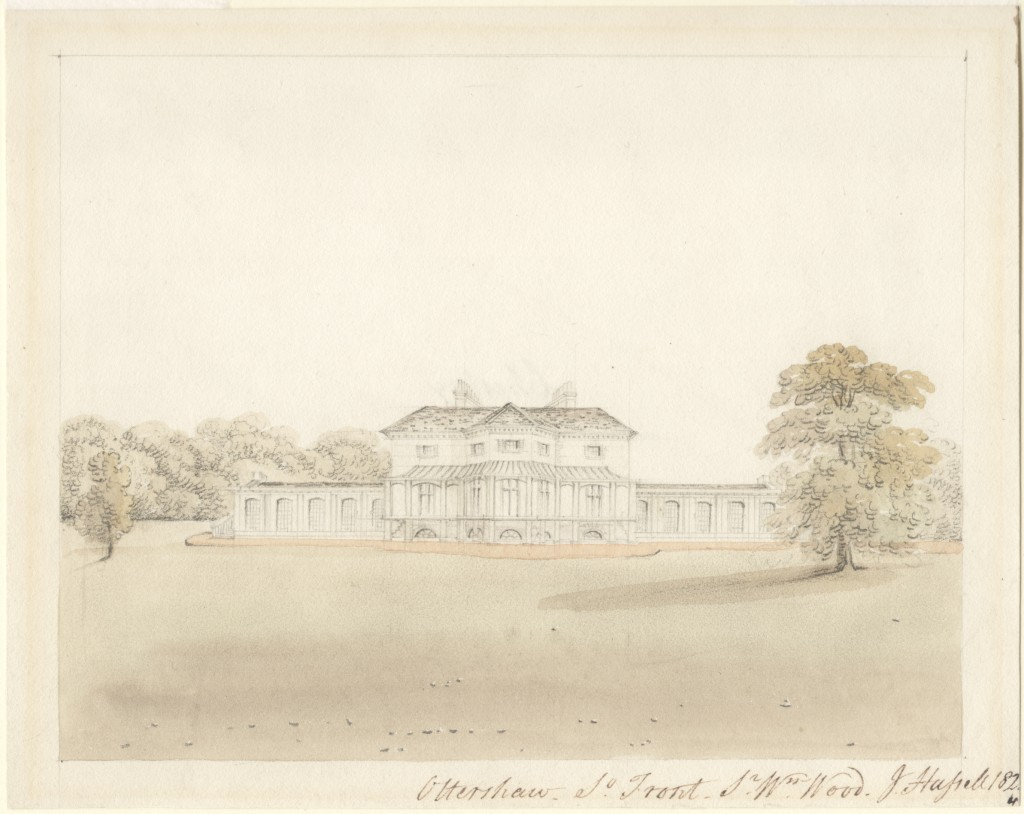 Watercolour of Ottershaw South Front by John Hassell (RA), 1824