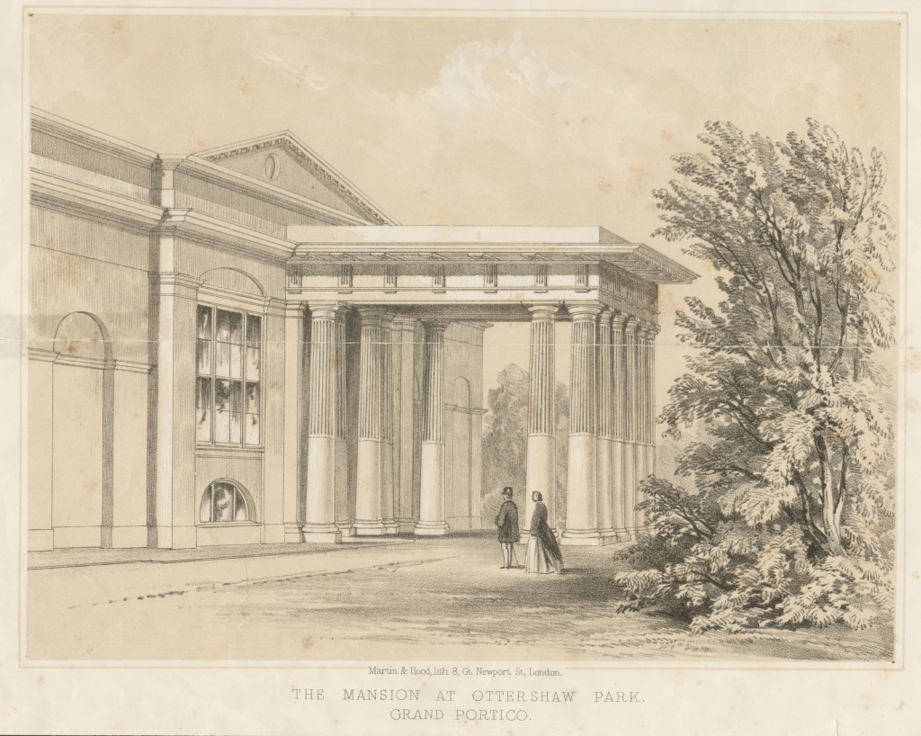 "Lithograph of Ottershaw Park Estate [one of a series of five] entitled ""The Mansion at Ottershaw Park, Grand Portico"", 1859"