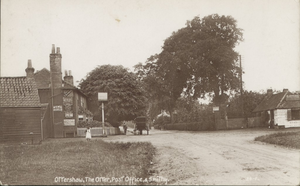The Otter pub, Post Office and Roake's Smithy, Ottershaw, 1910 - 1915