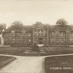 Postcard showing Strode's School, Egham, postmarked 30th July 1943